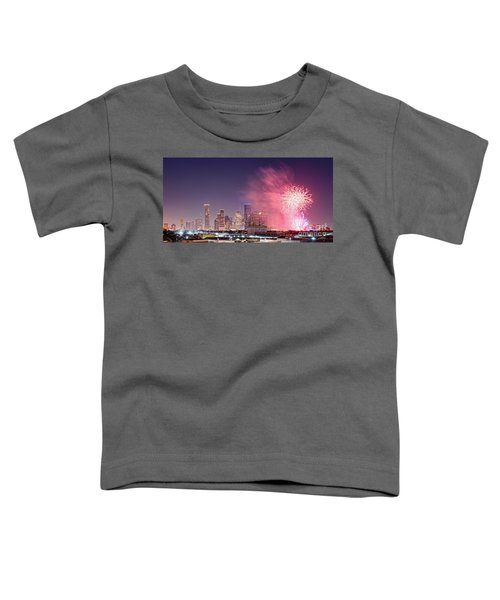 Panorama Of Downtown Houston Skyline Fireworks On The 4th Of July - Harris County Texas Toddler T-Shirt