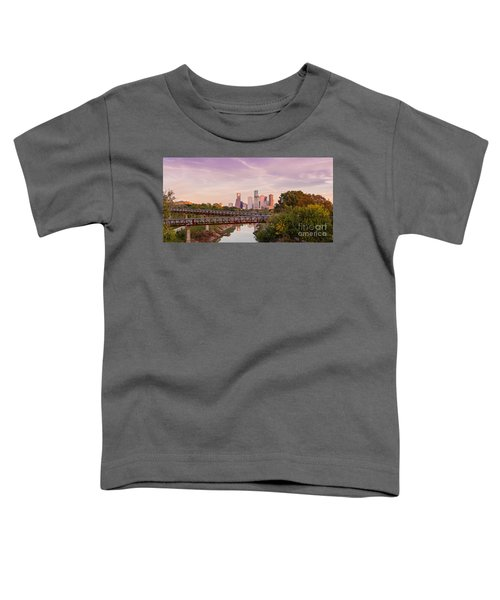 Panorama Of Downtown Houston Skyline From Studemont Drive - Buffalo Bayou Park Houston Texas Toddler T-Shirt
