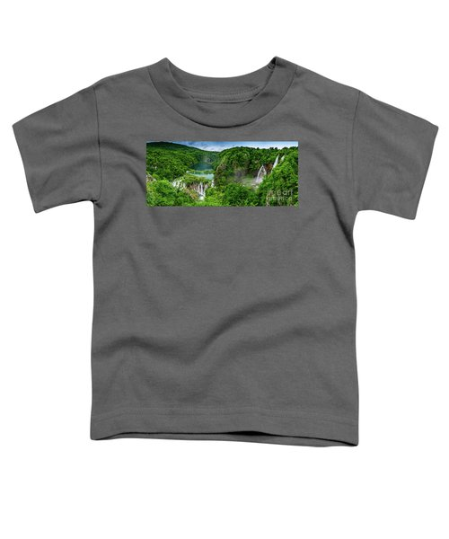 Panorama Of Turquoise Lakes And Waterfalls - A Dramatic View, Plitivice Lakes National Park Croatia Toddler T-Shirt