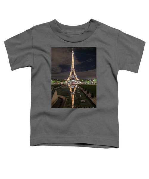 Paris Eiffel Tower Dazzling At Night Toddler T-Shirt by Mike Reid