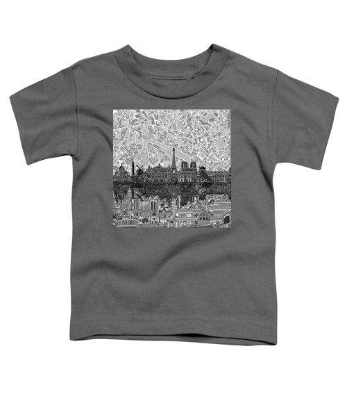 Paris Skyline Black And White Toddler T-Shirt