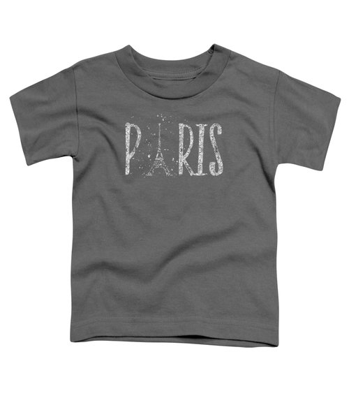 Paris Typography - Grey - Silver Splashes Toddler T-Shirt