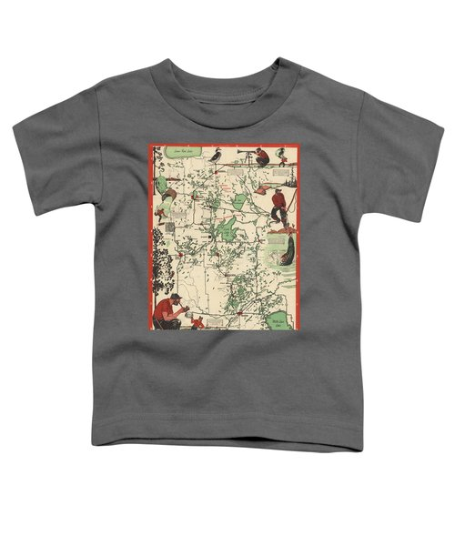 Paul Bunyan's Playground - Northern Minnesota - Vintage Illustrated Map - Cartography Toddler T-Shirt