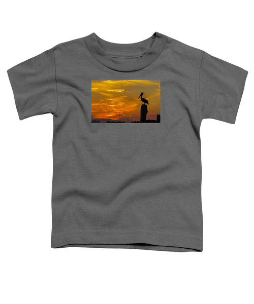 Pelican At Silver Lake Sunset Ocracoke Island Toddler T-Shirt