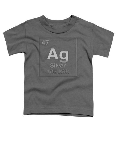 Periodic Table Of Elements - Silver - Ag - Silver On Silver Toddler T-Shirt