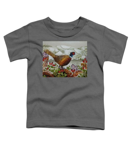 Pheasant And Snowy Hillside Toddler T-Shirt