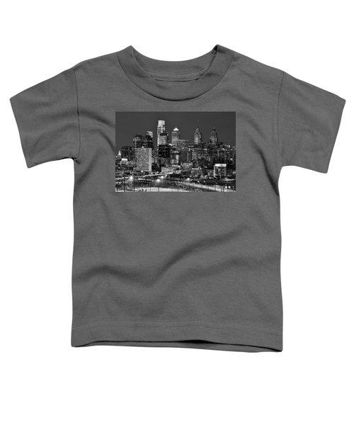 Philadelphia Skyline At Night Black And White Bw  Toddler T-Shirt by Jon Holiday