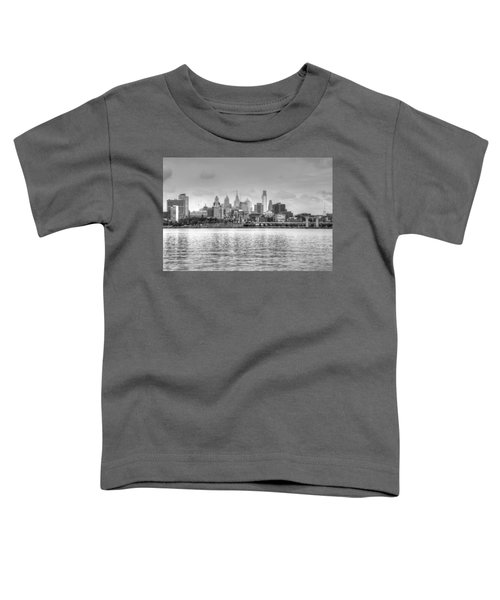 Philadelphia Skyline In Black And White Toddler T-Shirt