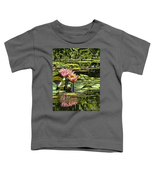 Toddler T-Shirt featuring the photograph Pink Water Lily Reflections by Bill Barber