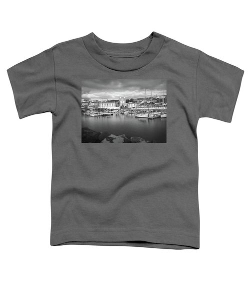 Port Of Angra Do Heroismo, Terceira Island, The Azores In Black And White Toddler T-Shirt