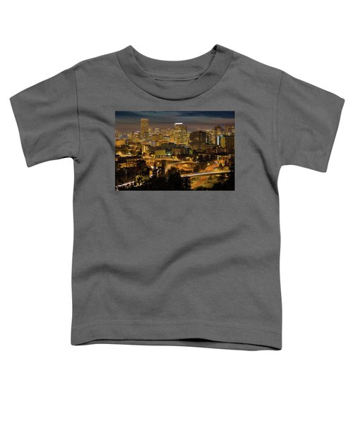 Portland Downtown Cityscape And Freeway At Night Toddler T-Shirt