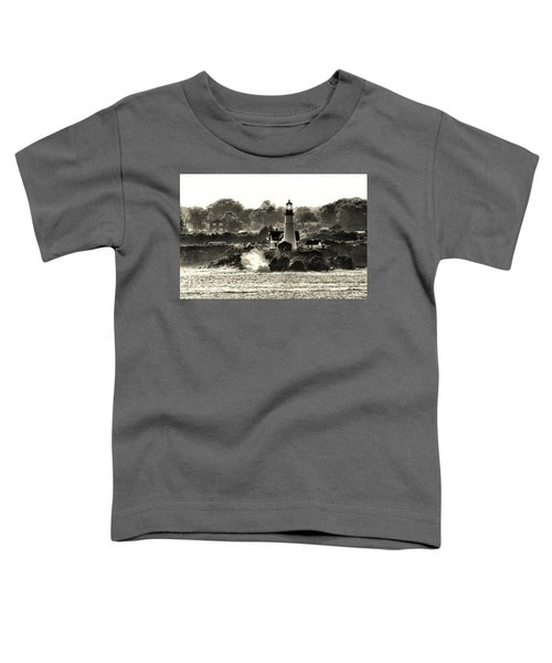 Portland Head Light At Cape Elizabeth In Black And White Toddler T-Shirt