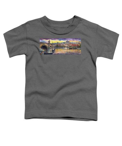Prague Charles Bridge And Prague Castle With The Vltava River 1 Toddler T-Shirt