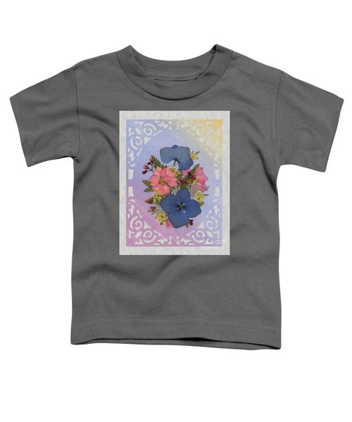 Pressed Flowers Arrangement With Pink Larkspur And Hydrangea Toddler T-Shirt