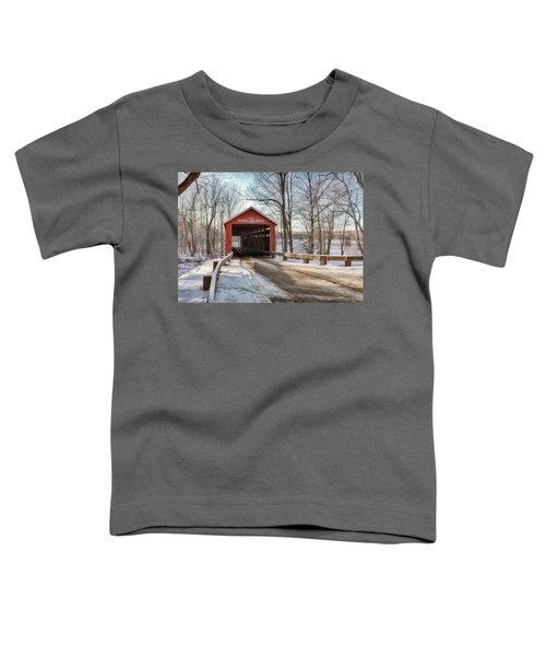 Toddler T-Shirt featuring the photograph Protected Crossing In Winter by Andrea Platt