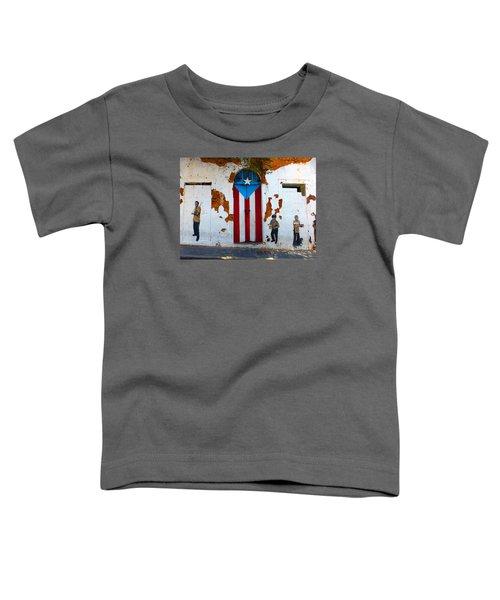 Puerto Rican Flag On Wooden Door Toddler T-Shirt