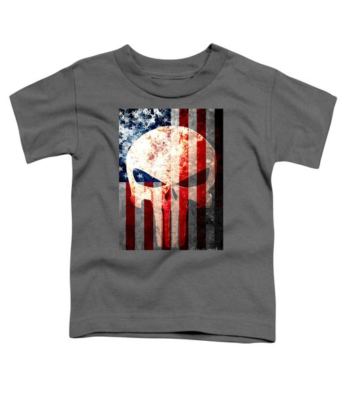Punisher Themed Skull And American Flag On Distressed Metal Sheet Toddler T-Shirt