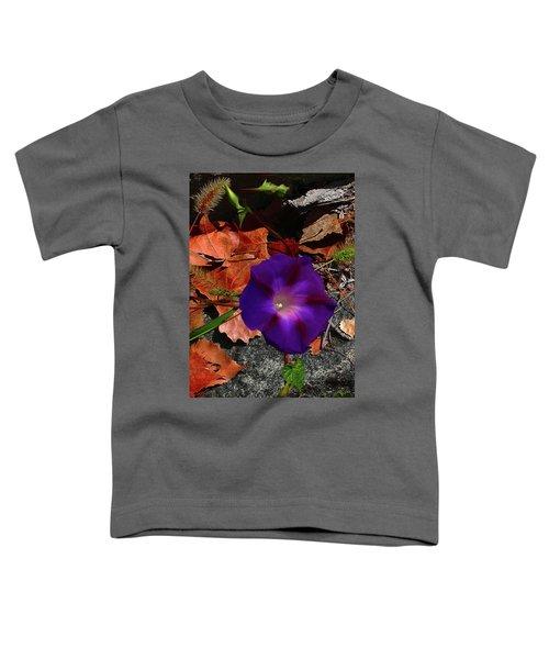 Purple Flower Autumn Leaves Toddler T-Shirt