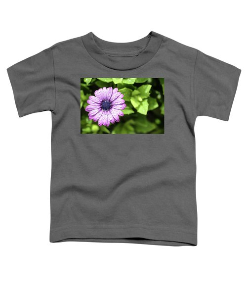 Purple Flower On Green Toddler T-Shirt