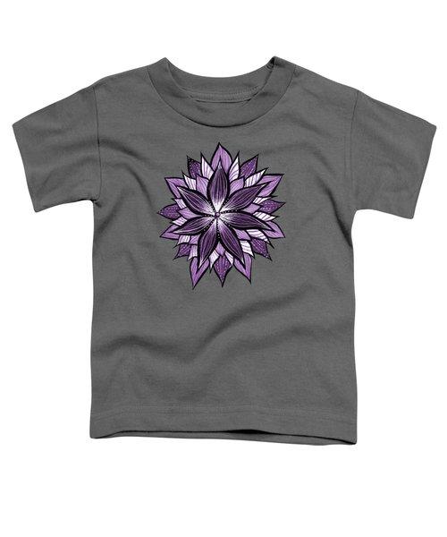 Purple Mandala Like Ink Drawn Abstract Flower Toddler T-Shirt