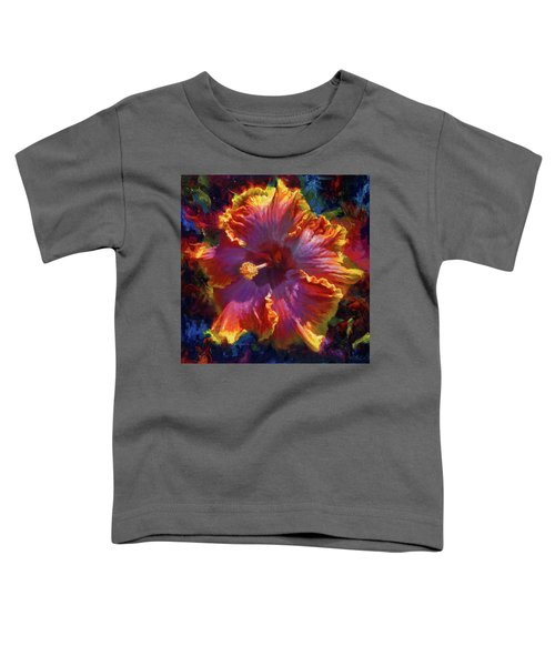 Rainbow Hibiscus Tropical Flower Wall Art Botanical Oil Painting Radiance  Toddler T-Shirt