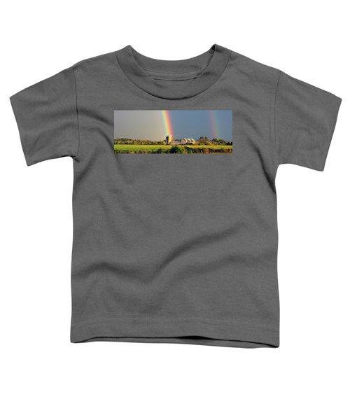 Rainbow Over Barn Silo Toddler T-Shirt