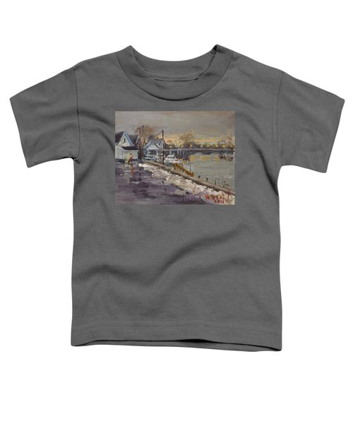 Rainy And Snowy Evening By Niagara River Toddler T-Shirt