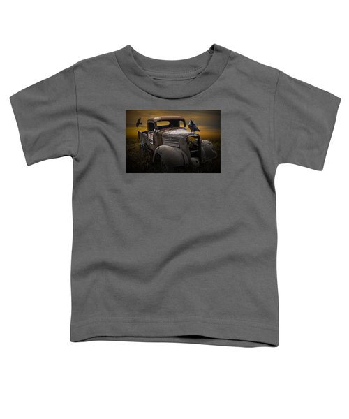 Raven Hood Ornament On Old Vintage Chevy Pickup Truck Toddler T-Shirt