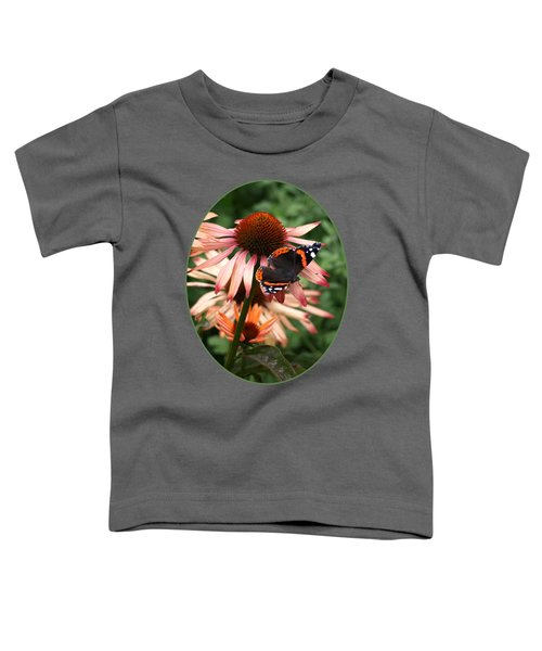 Red Admiral On Coneflower Toddler T-Shirt by Gill Billington