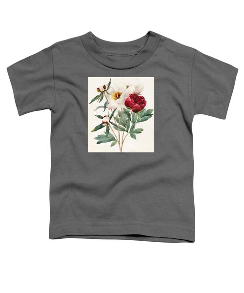 Red And White Herbaceous Peonies Toddler T-Shirt