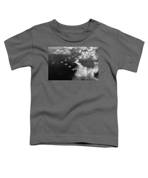 Red Arrows And Vulcan Above Clouds Black And White Toddler T-Shirt