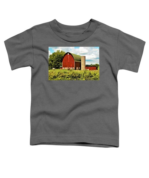 0040 - Red Barn And Horses Toddler T-Shirt