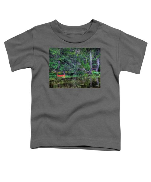 Toddler T-Shirt featuring the photograph Red Canoe Among The Reeds by David Patterson