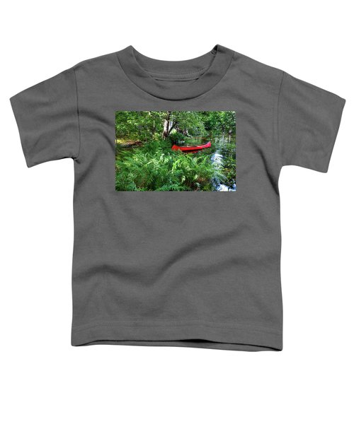 Red Canoe In The Adk Toddler T-Shirt