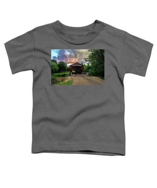 Red Coverd Bridge With Pretty Sky  Toddler T-Shirt