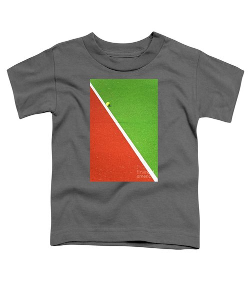 Red Green White Line And Tennis Ball Toddler T-Shirt by Silvia Ganora