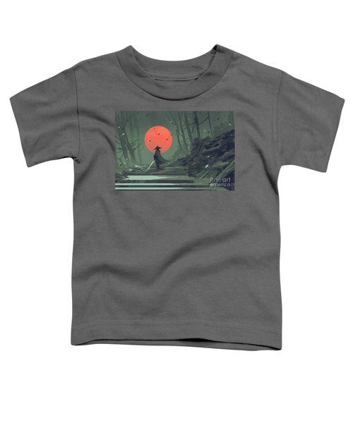 Toddler T-Shirt featuring the painting Red Moon Night by Tithi Luadthong
