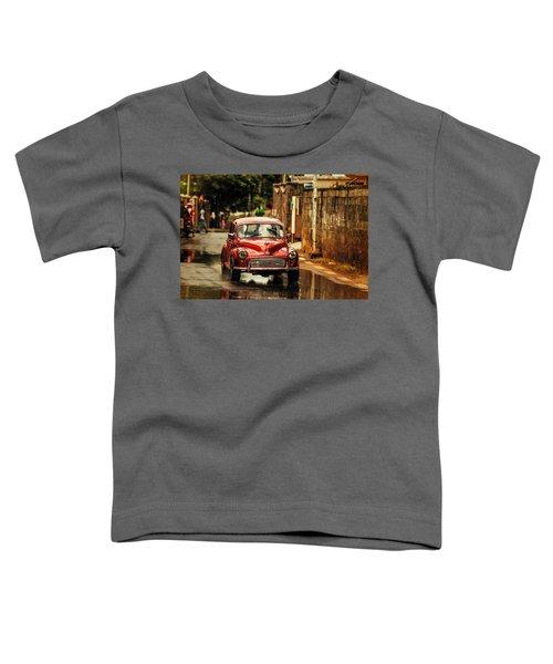 Red Retromobile. Morris Minor Toddler T-Shirt