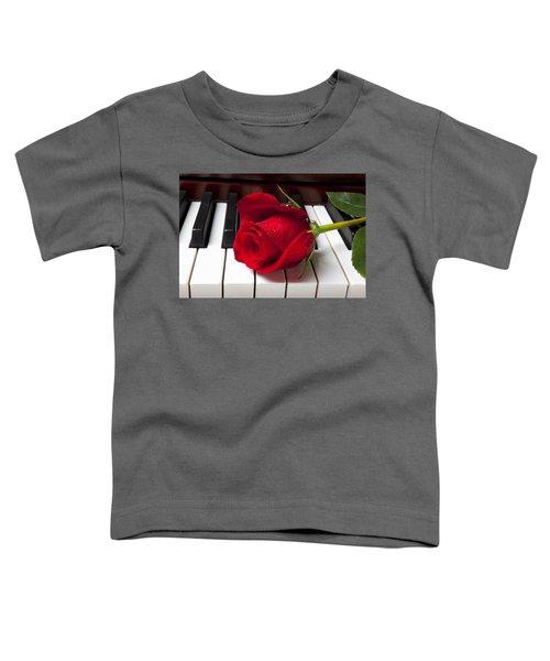 Red Rose On Piano Keys Toddler T-Shirt
