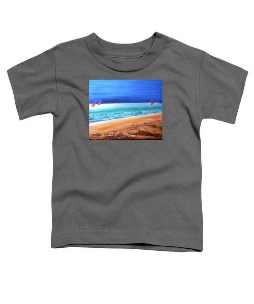 Toddler T-Shirt featuring the painting Red Sails by Winsome Gunning