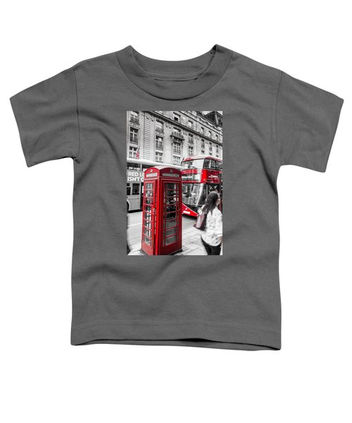 Red Telephone Box With Red Bus In London Toddler T-Shirt