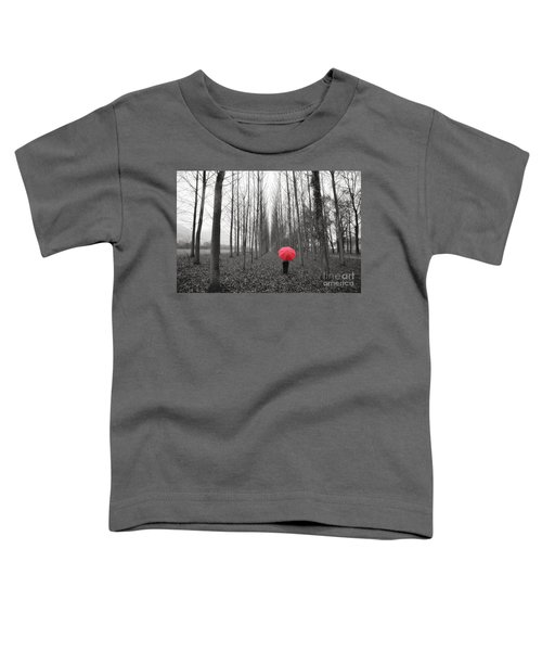 Red Umbrella In An Allee Toddler T-Shirt