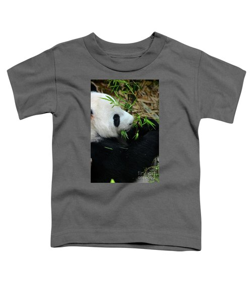 Relaxed Panda Bear Eats With Green Leaves In Mouth Toddler T-Shirt