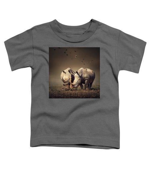 Rhino's With Birds Toddler T-Shirt