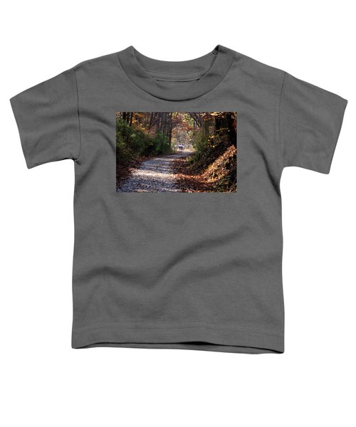 Riding Bikes On Park Trail In Autumn Toddler T-Shirt