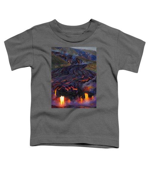 River Of Fire - Kilauea Volcano Eruption Lava Flow Hawaii Contemporary Landscape Decor Toddler T-Shirt