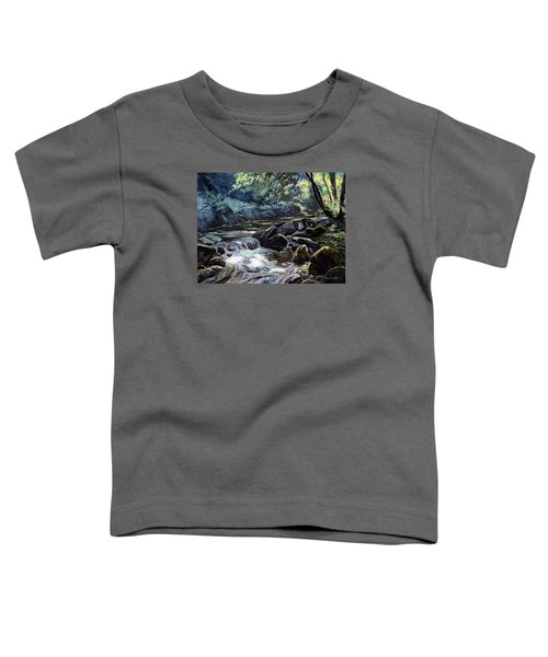 Toddler T-Shirt featuring the painting River Taw Sticklepath by Lawrence Dyer