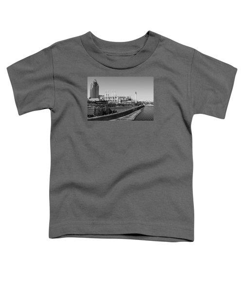 Riverfront Stadium Black And White  Toddler T-Shirt