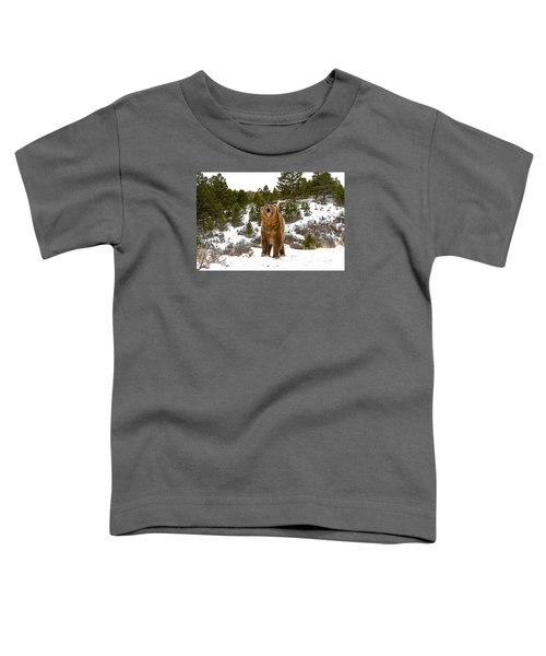 Roaring Grizzly In Winter Toddler T-Shirt