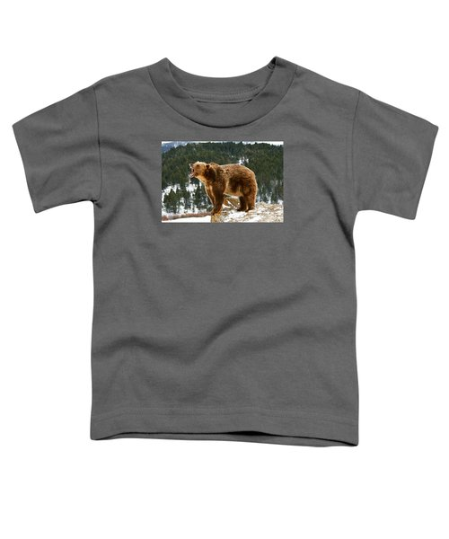 Roaring Grizzly On Rock Toddler T-Shirt